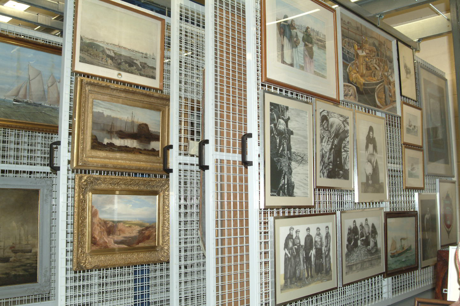image of racking containing paintings