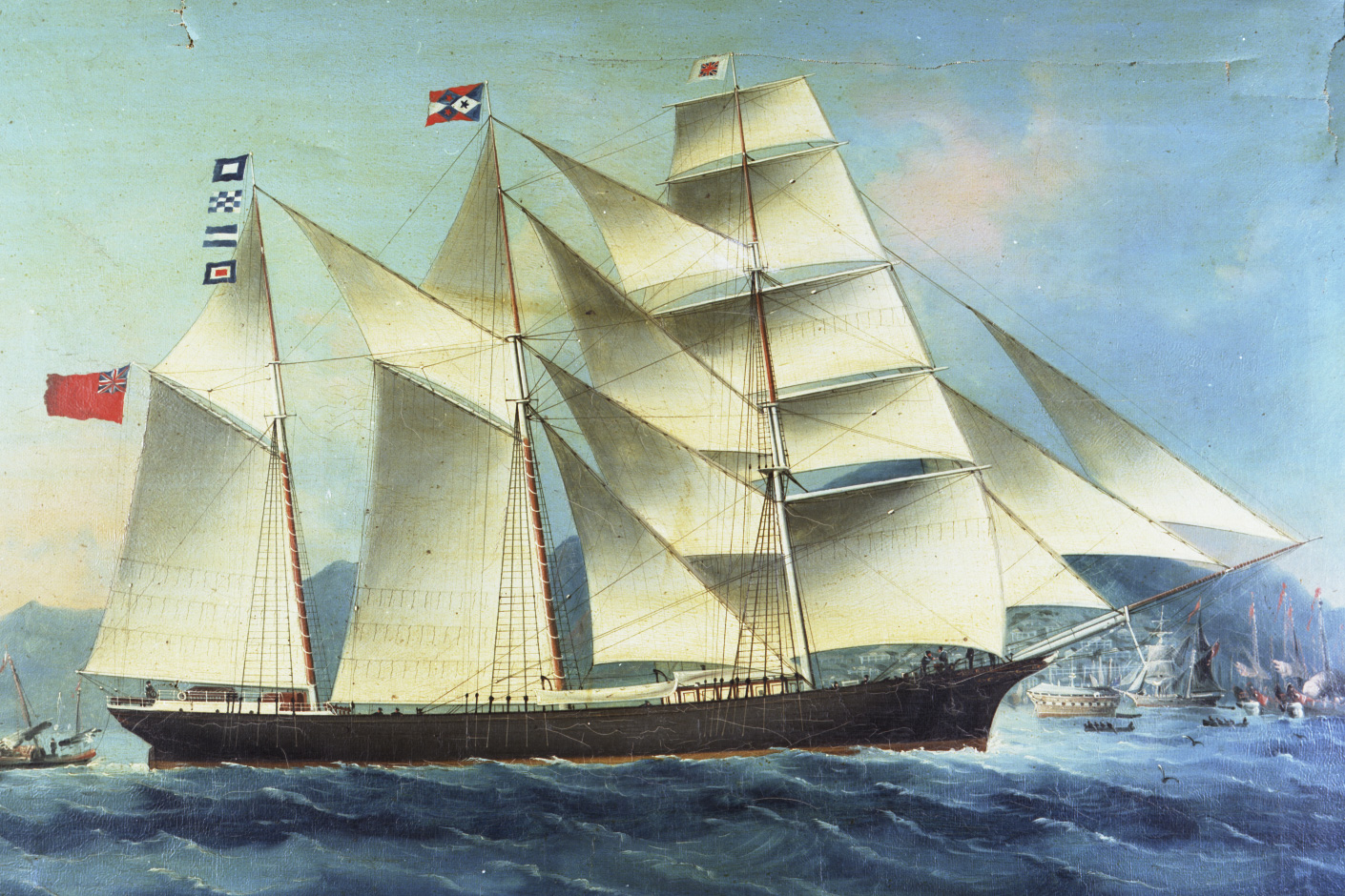 Oil painting of the schooner 'Rosebud' at Hong Kong.