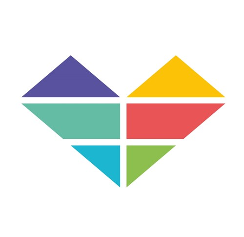 Heart logo with 6 colour sections