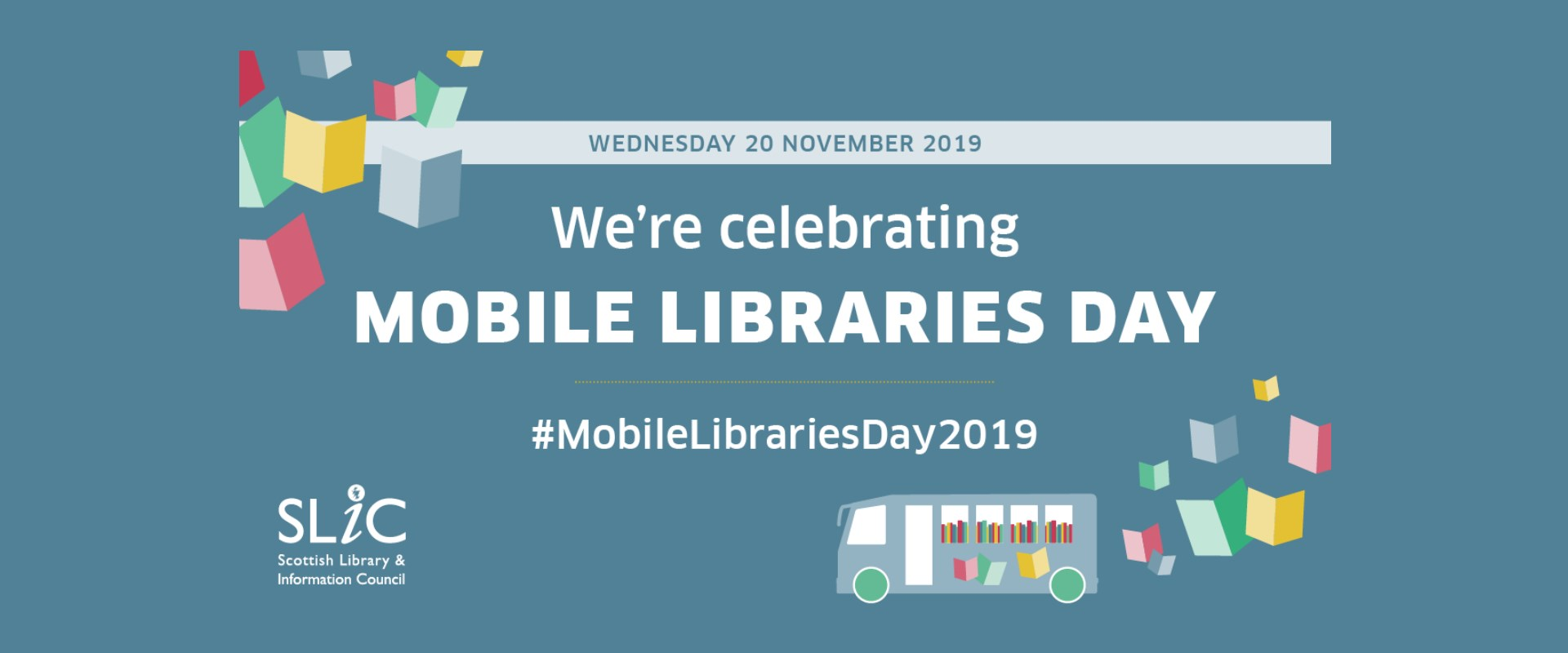 graphic with a mobile library image