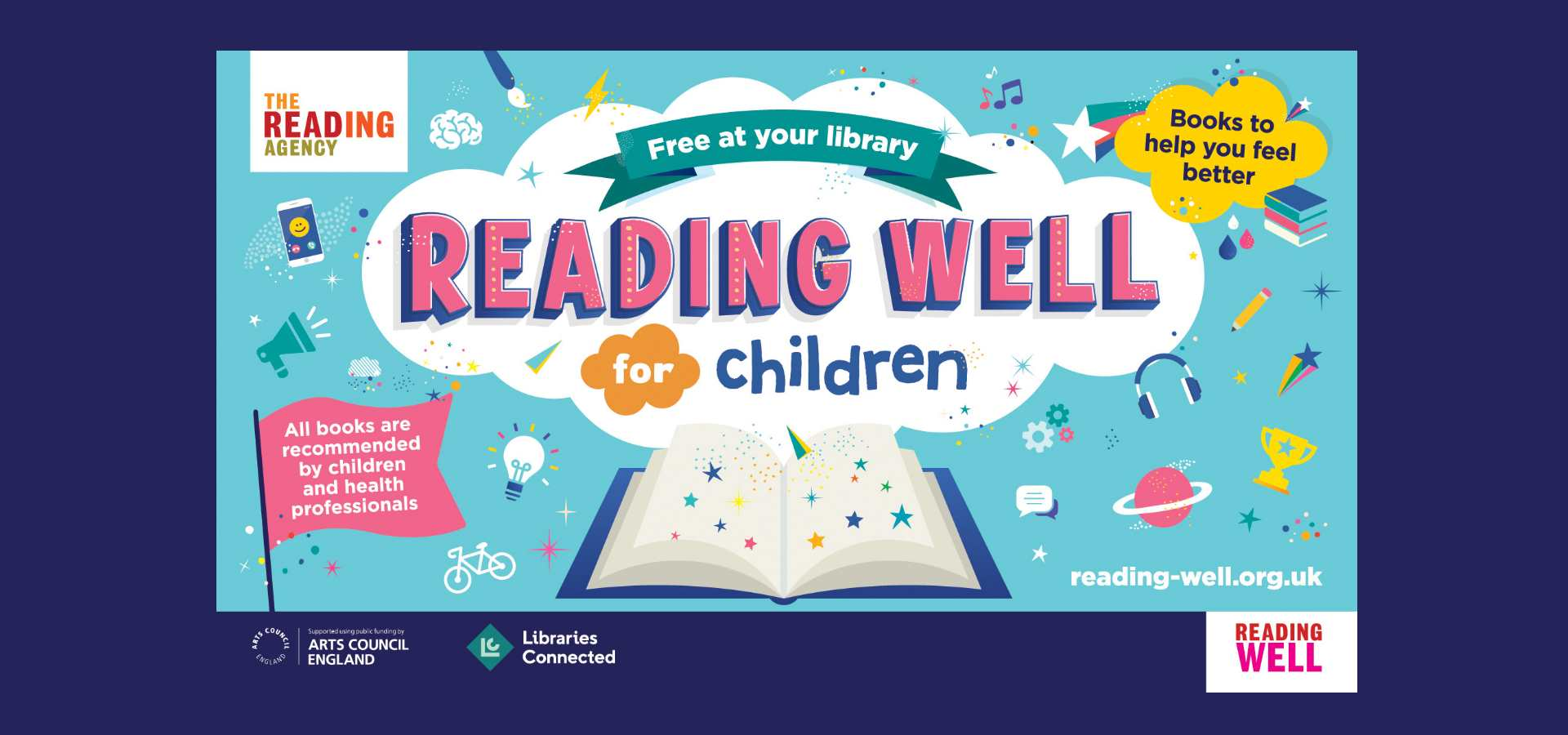 Reading Well for Children logo with books to help you feel better message