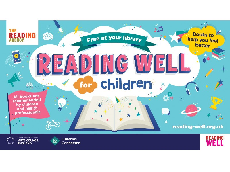 Reading Well logo with books to help you feel better message