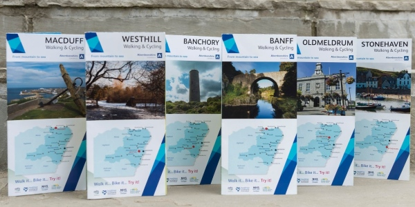 selection of walking maps covering Macduff, Westhill, Banchory, Oldmeldrum and Stonehaven