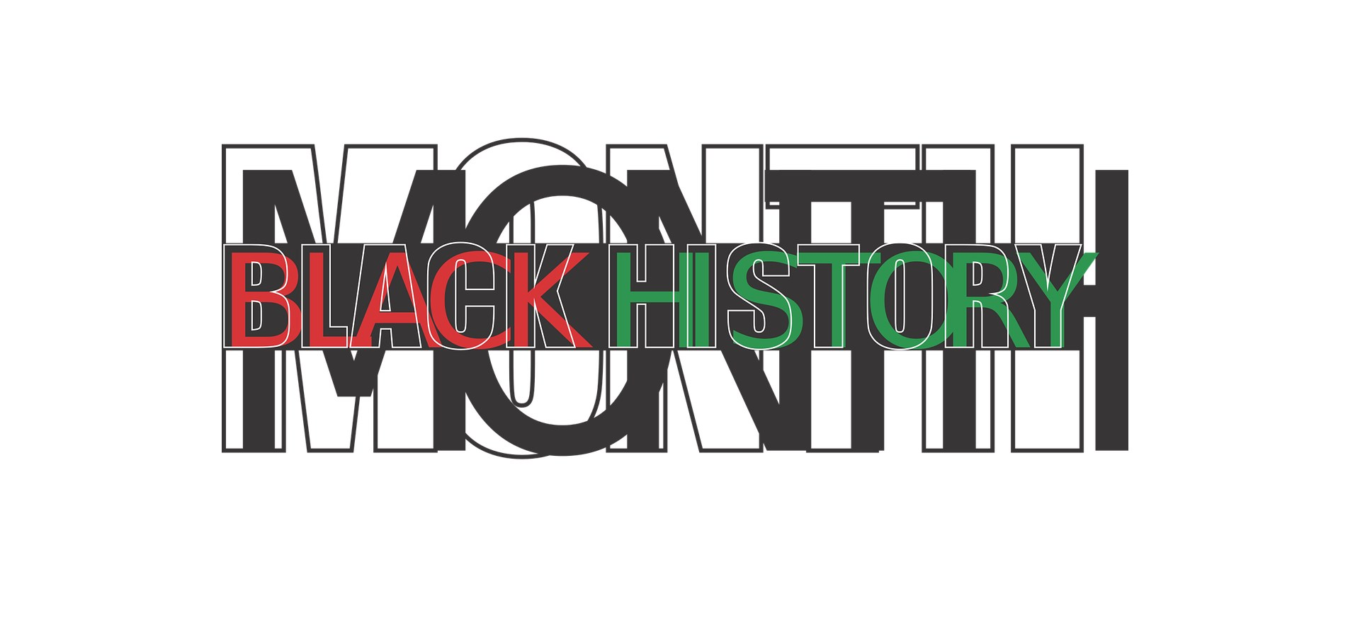 A graphic with the words Black History Month