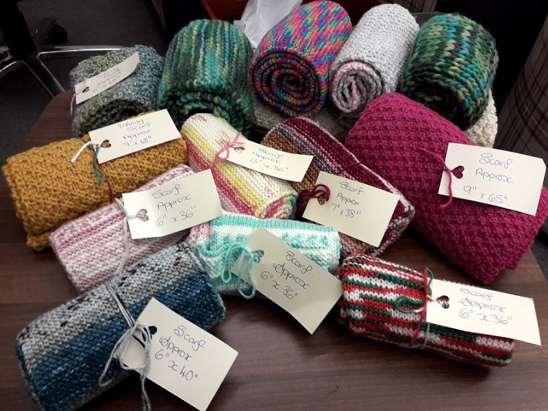 A selection of scarfs donated as part of the cosy bosie project