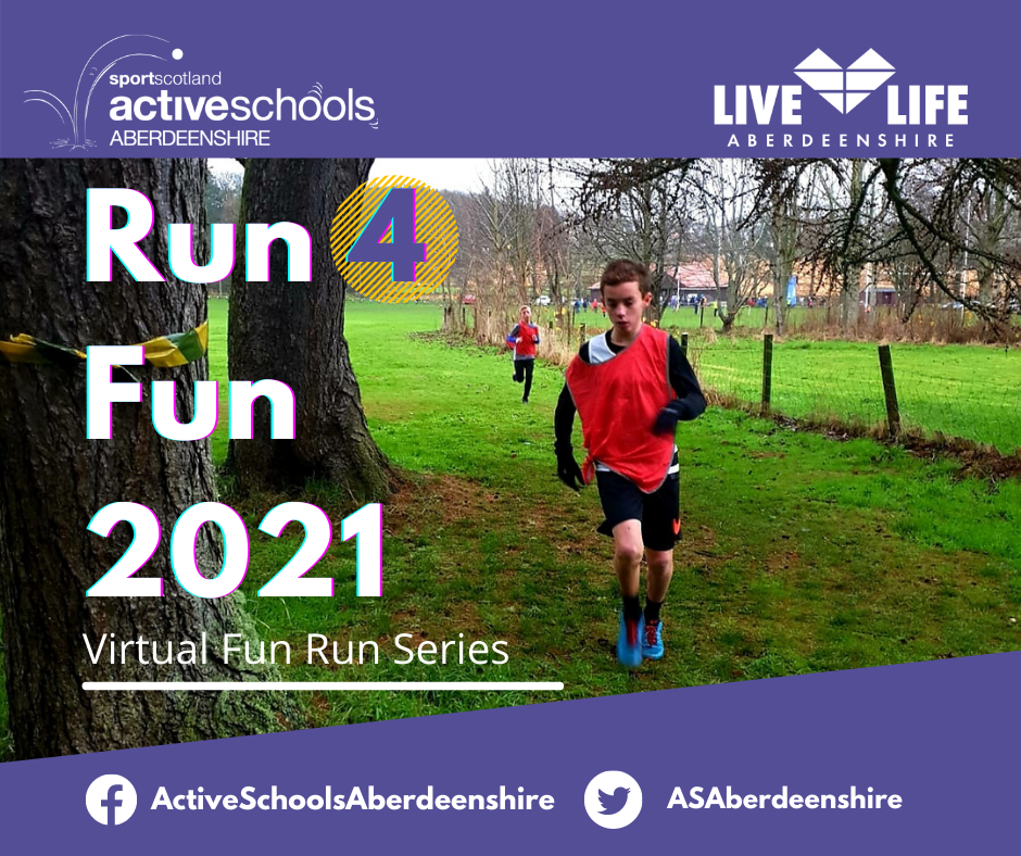 Image of a boy running in a forest with a purple banner header and written text of Run4Fun 2021
