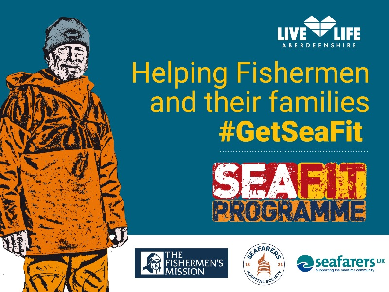 Image reads 'Helping Fishermen and their families #GetSeaFit'